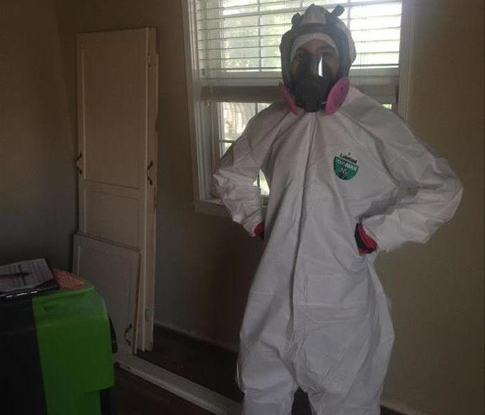Employee Geared Up for Mold Removal