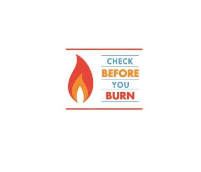 a red and orange flame to the left of the words Check Before You Burn, font in teal orange and red.