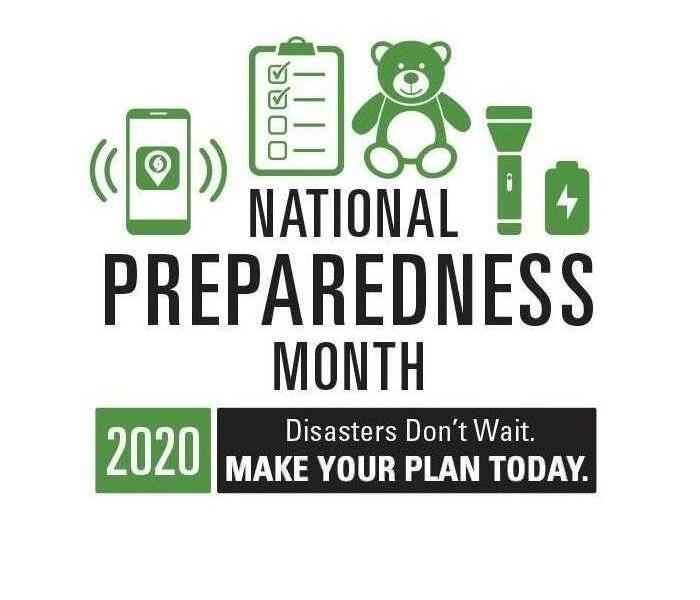 Logo-at the top a green cell phone, check list, bear flashlight,  & battery, In black National Preparedness Month