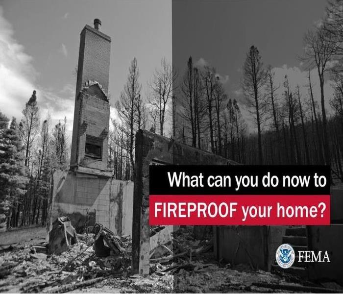 "black and white image of a structure burned down, with the words, ""What can you do now to Fireproof your home?"""