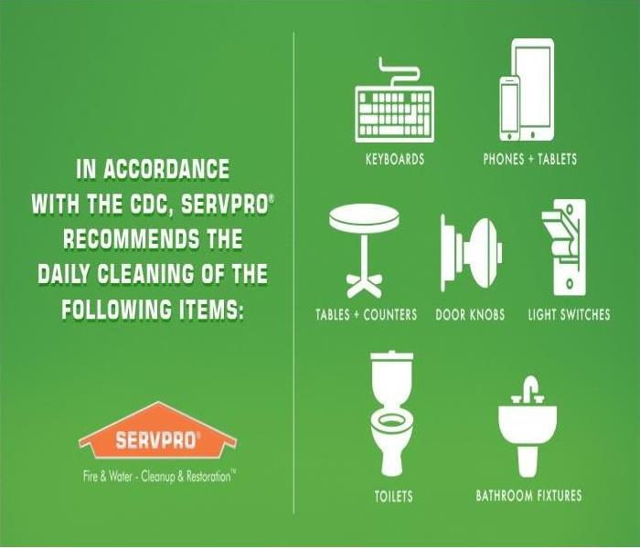 green background white lettering: In Accordance with the CDC, SERVPRO recommends the daily cleaning of the following items: