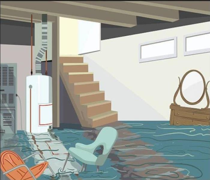 Animated picture of basement, flooded with blue water and chairs and brown dresser floating