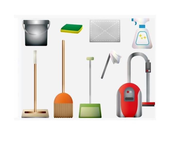 white background with red vacuum, gray bucket, green/yellow sponge, spray bottle, brown sweeper,  brown broom, green dust pa