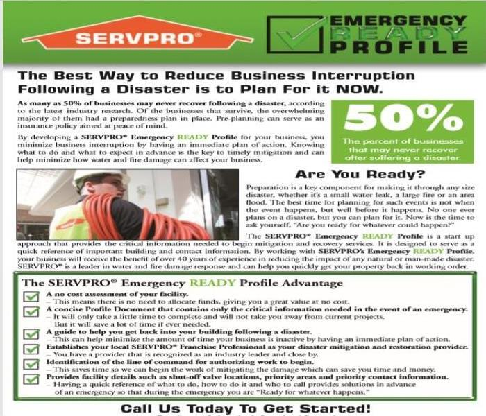 Emergency Response Plan flyer, listing its benefits on white back ground, black ink and green icons
