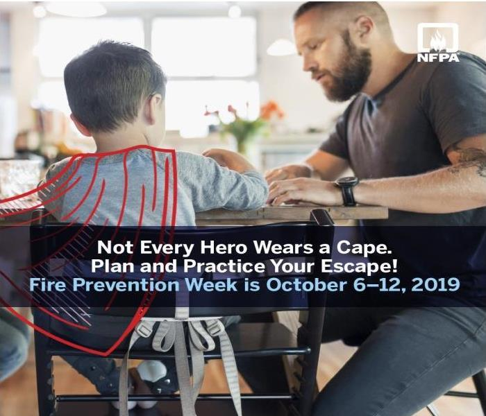 "A father and son sit at the kitchen table going over a plan with the words, ""Not Every Hero Wears a Cape. Plan Your Escape!"""